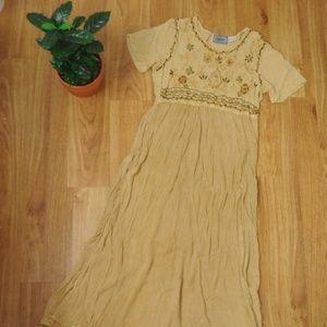 Vintage Boho Embroidered Rayon Maxi Dress